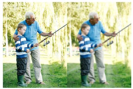 Representação da visão de um paciente sem catarata, em seguida a visão de um paciente com catarata.